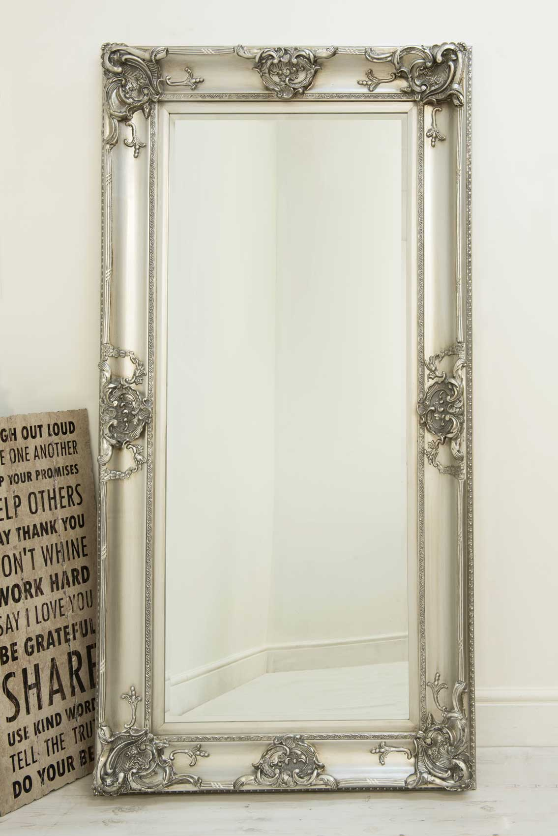 Details About Beautiful Large Silver Decorative Ornate Wall Mirror 6Ft X  3Ft 183 X 91Cm Intended For Rectangle Ornate Geometric Wall Mirrors (Photo 9 of 20)