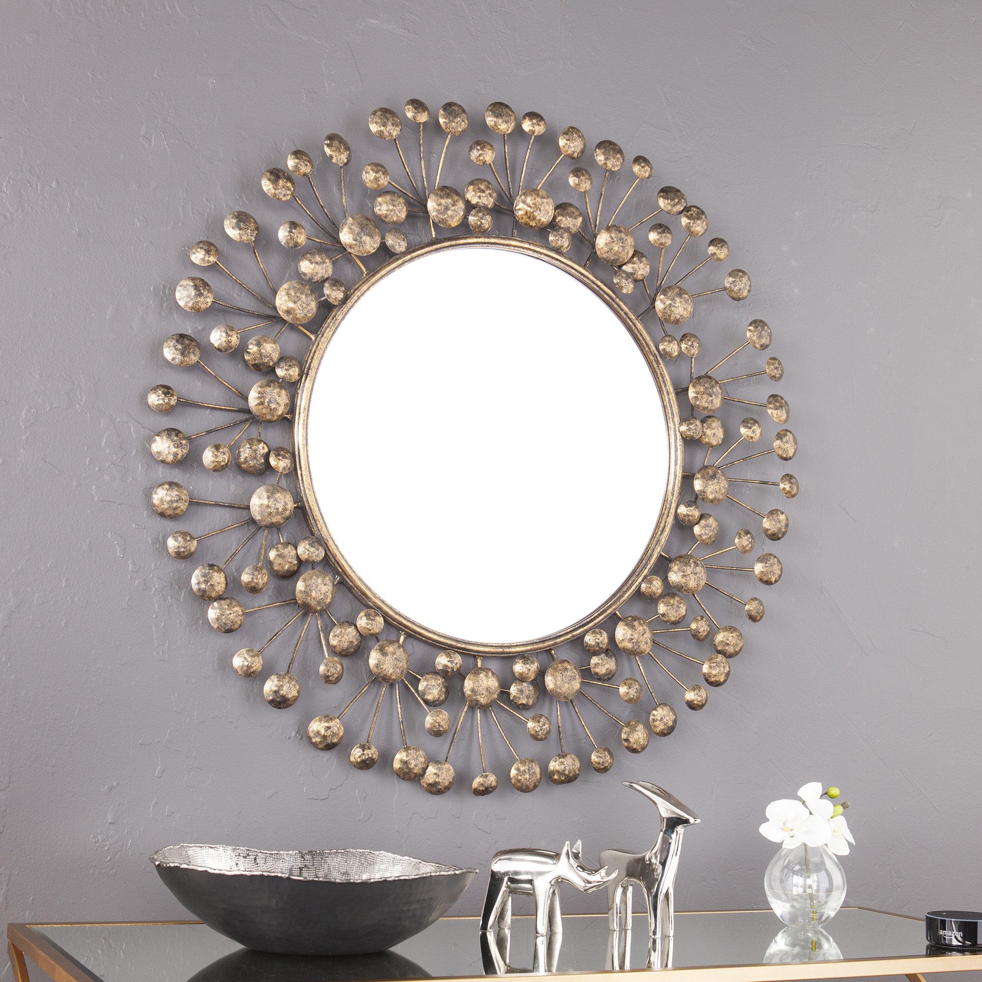 Details About Brayden Studio Eisenbarth Oversized Decorative Round Wall  Mirror Intended For Decorative Round Wall Mirrors (Image 9 of 20)