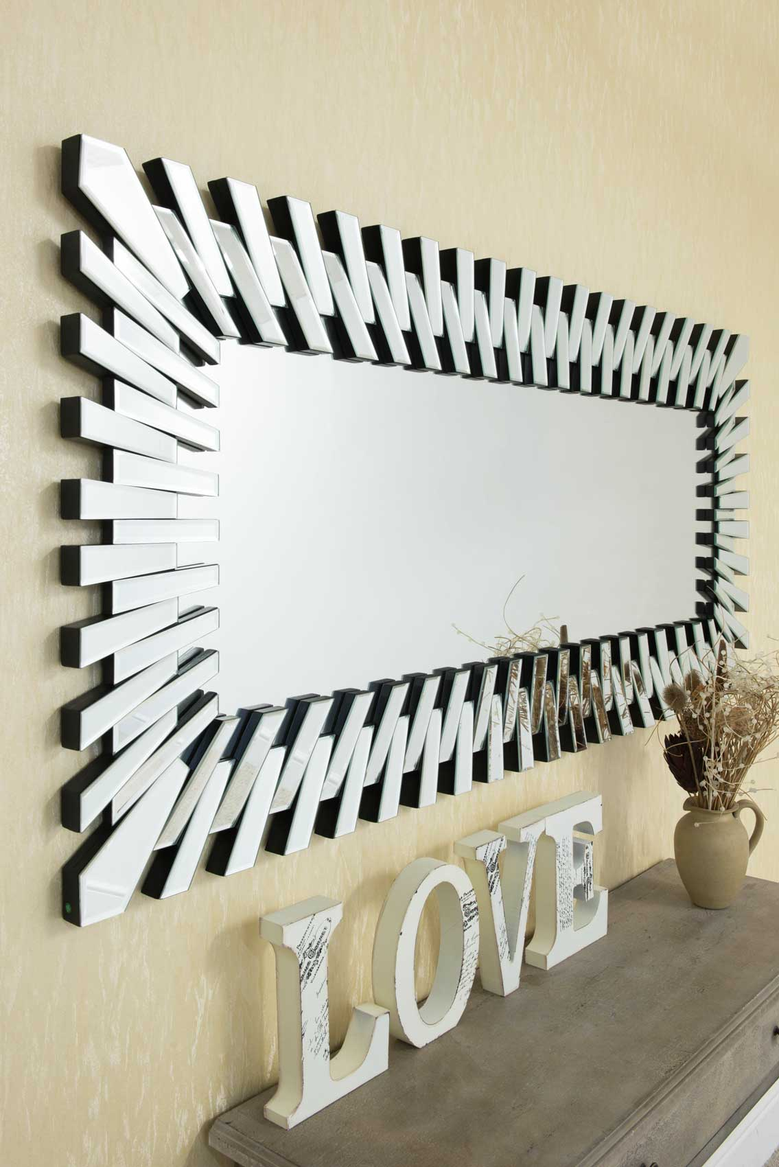 Details About Extra Large Modern Unique 3D Sunburst All Glass Venetian Rectangular Wall Mirror With Regard To Modern Rectangle Wall Mirrors (View 2 of 20)