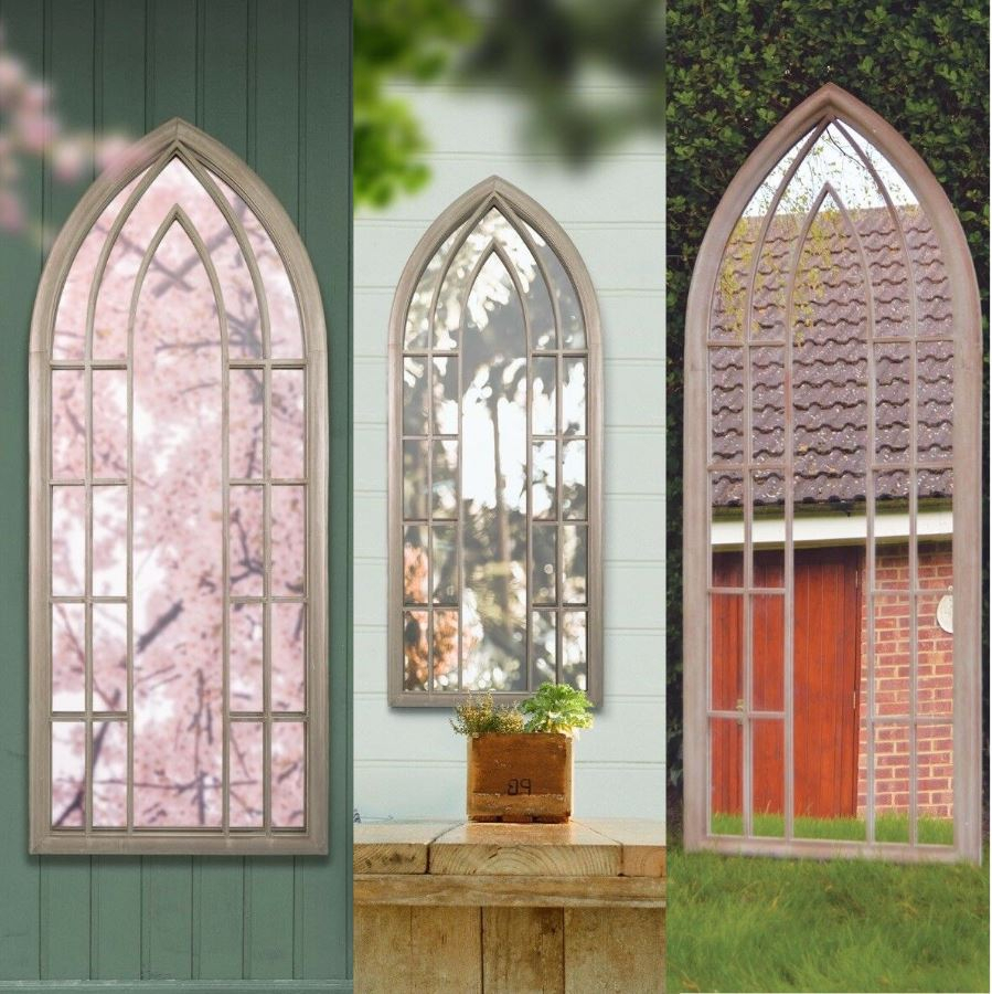 Details About Large Gothic Mirror Rustic Design Wall Arch Outdoor Garden  Window Antique Church Regarding Metal Arch Window Wall Mirrors (Image 6 of 20)