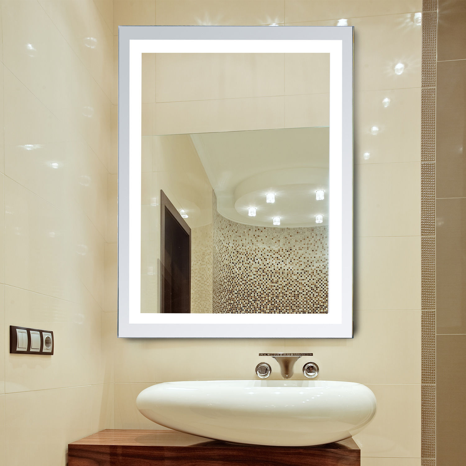 Details About Led Illuminated Bathroom Wall Mirrors With Lights Modern  Makeup Vanity Mirror With Wall Mirrors (Image 7 of 20)