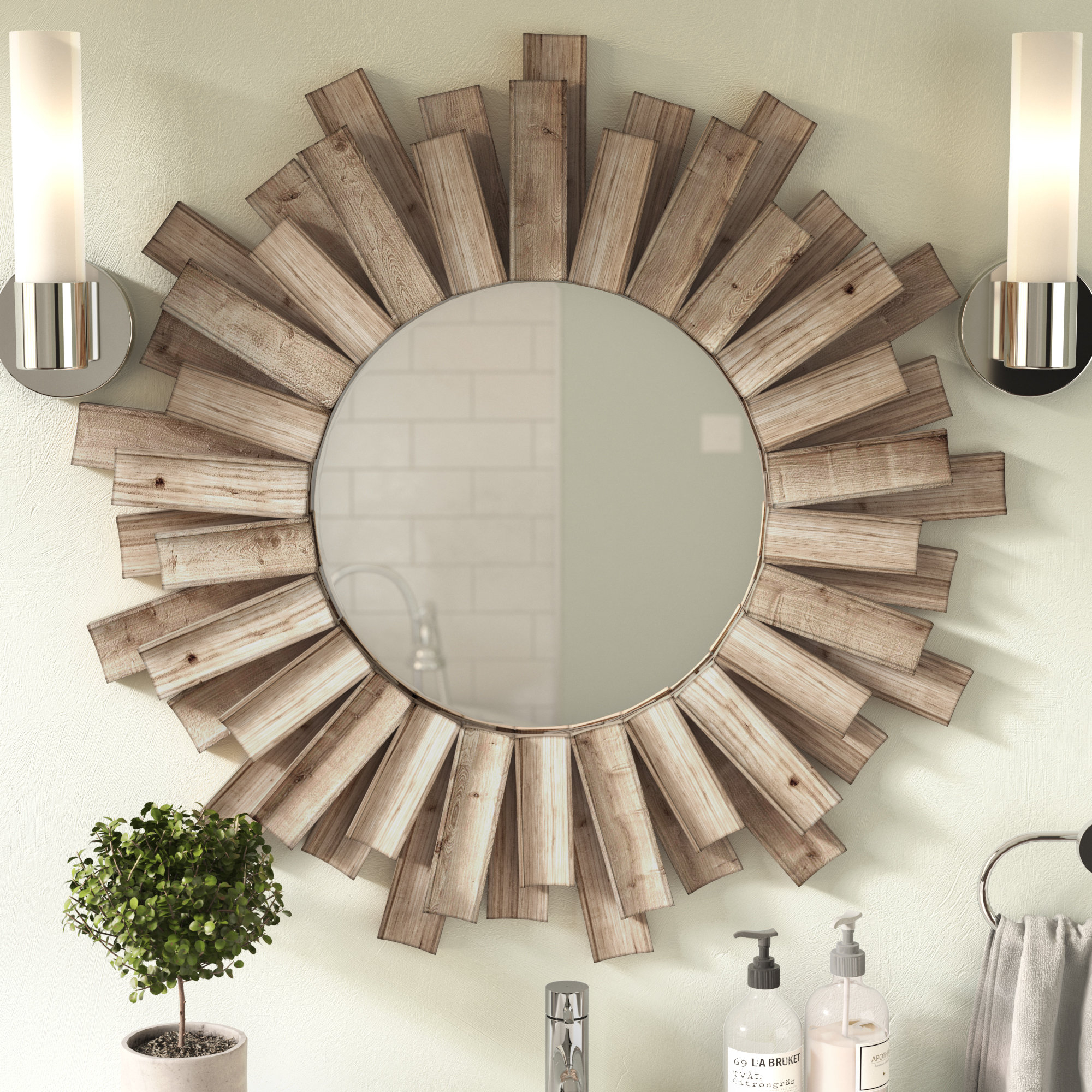 Details About Union Rustic Perillo Burst Wood Accent Mirror With Perillo Burst Wood Accent Mirrors (Image 6 of 20)