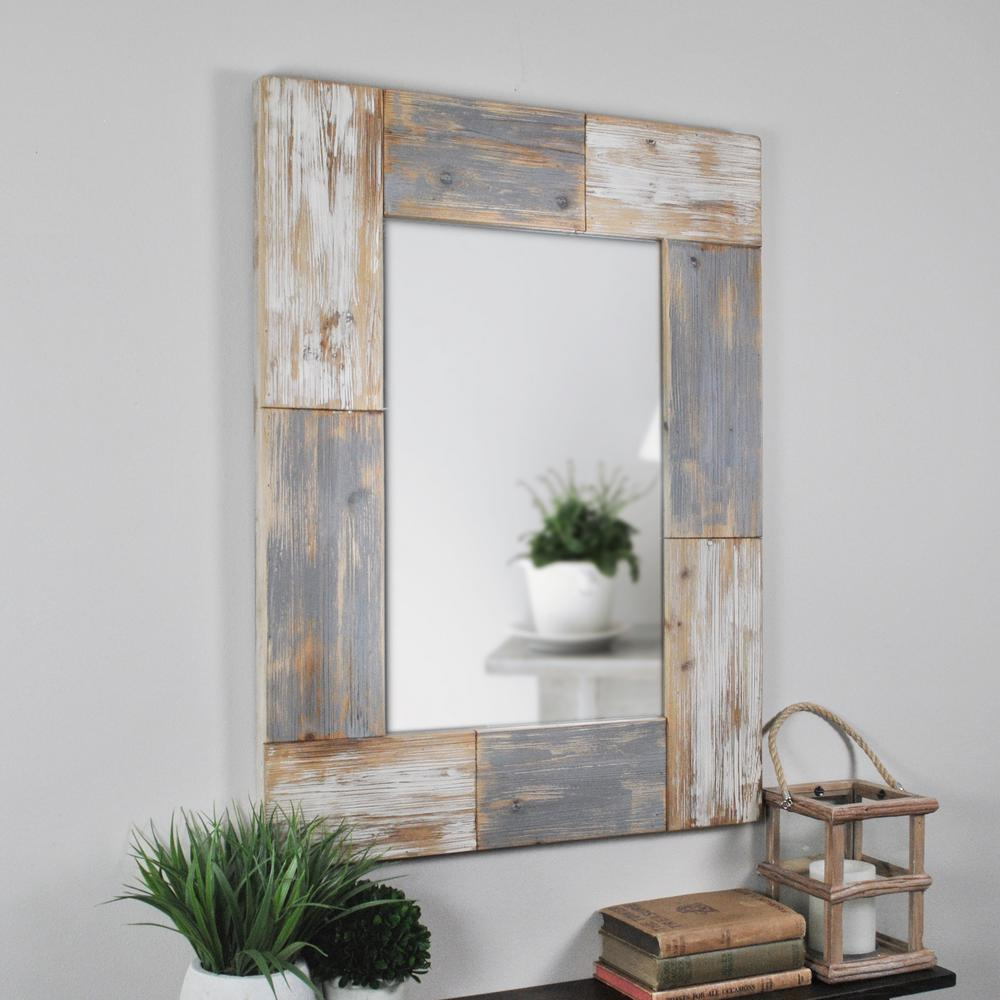 Details About Wall Accent Mirror Mason Plank Constructed Of Solid Wood Rustic Farmhouse Style Regarding Wood Accent Mirrors (View 17 of 20)