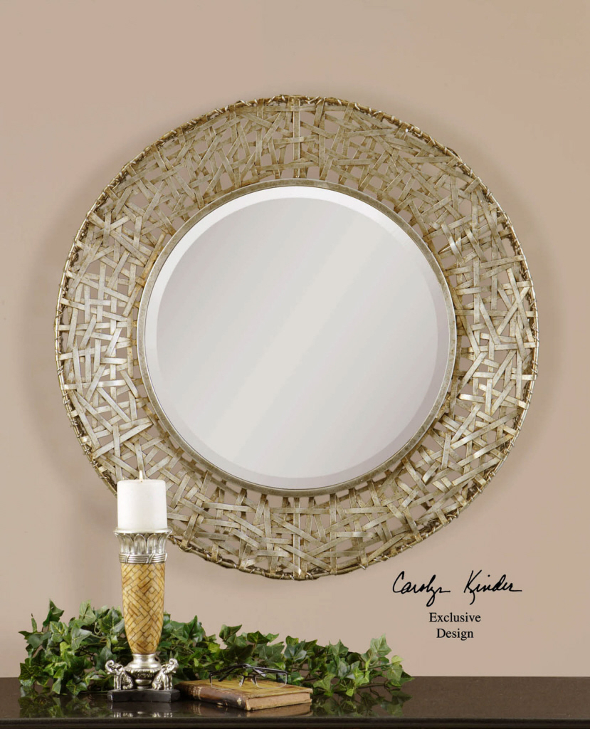 """Details About Woven Champagne Metal Strips Round Wall Mirror Modern Large  32"""" Throughout Traditional Metal Wall Mirrors (Image 4 of 20)"""