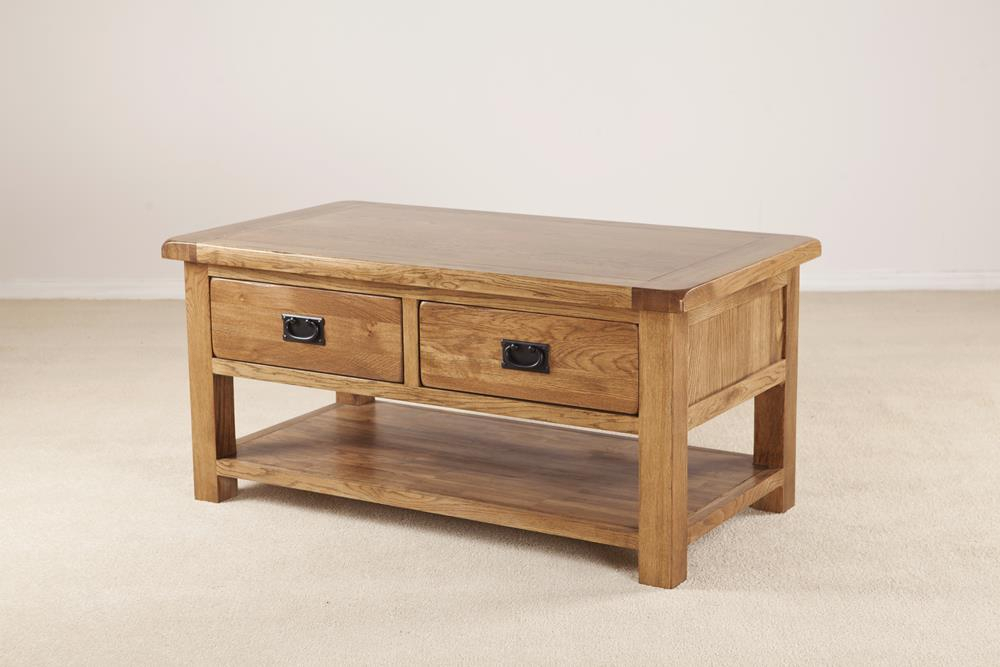 Devonshire Rustic Oak Coffee Table 2 Drawer With Shelf Intended For Rustic Oak Coffee Tables (Image 5 of 25)