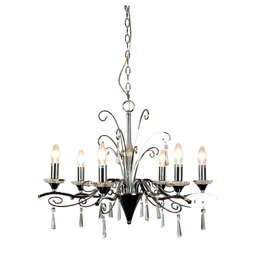 Diaz 6 Light Pendant In Chrome And Crystal Within Diaz 6 Light Candle Style Chandeliers (Image 7 of 20)