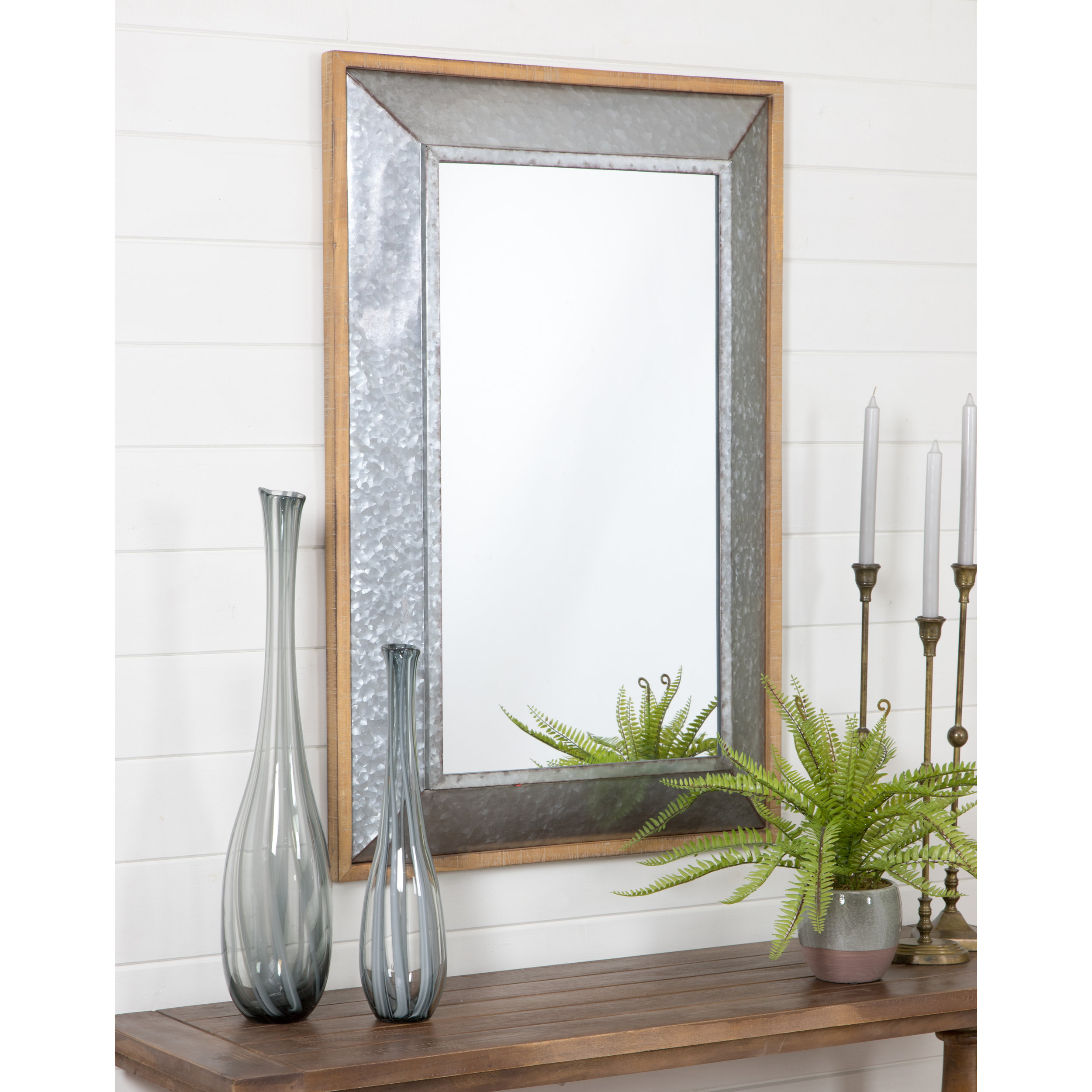 Dillinger Farmhouse Wall Mirror Within Epinal Shabby Elegance Wall Mirrors (View 15 of 20)