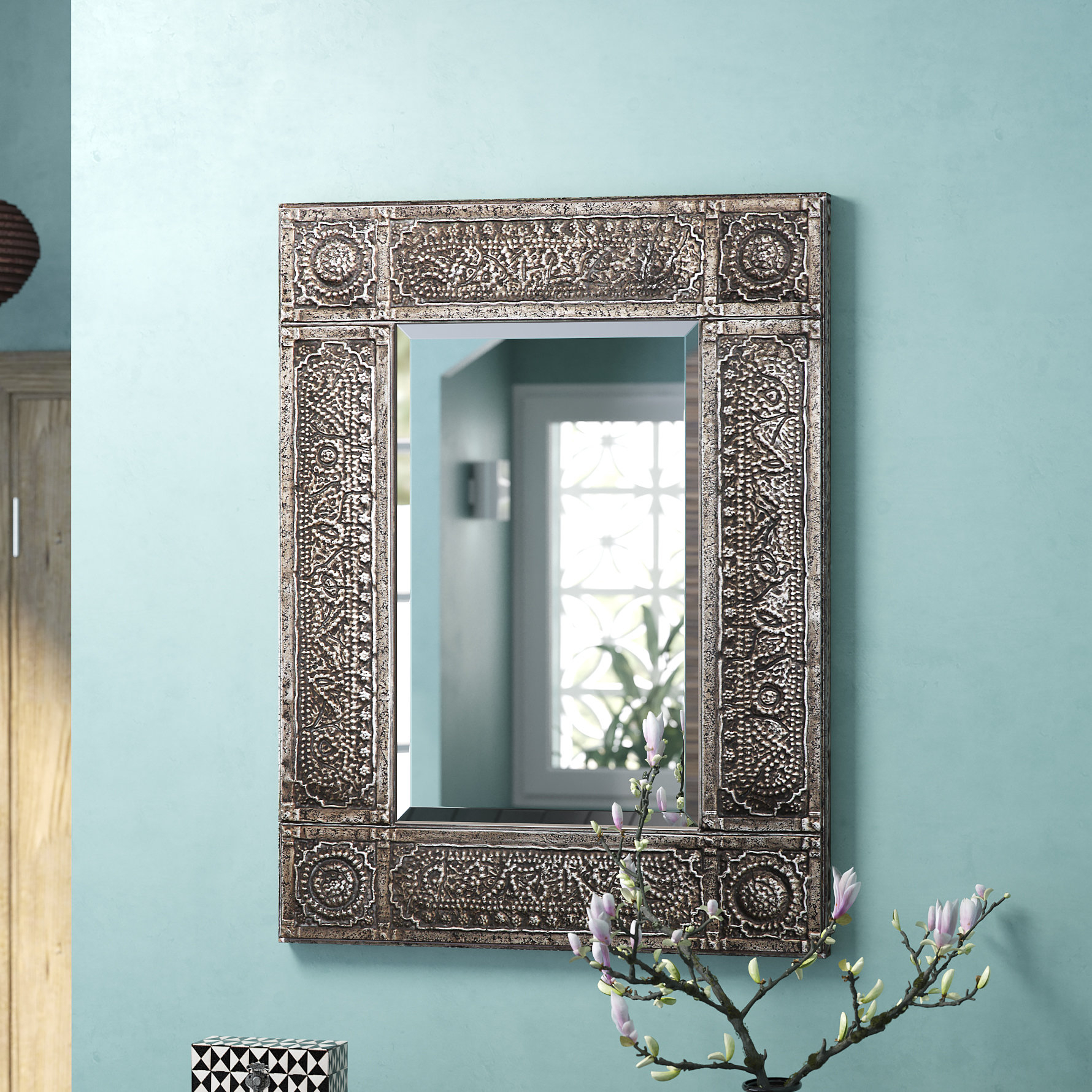 Distressed Blue Mirror | Wayfair Regarding Alie Traditional Beveled Distressed Accent Mirrors (Image 12 of 20)
