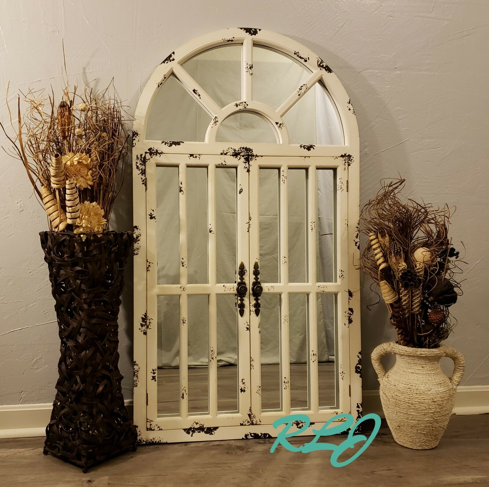 Distressed Rustic Country Arched Window Door Wood Mirror Vintage Wall Art Decor With Faux Window Wood Wall Mirrors (View 18 of 20)