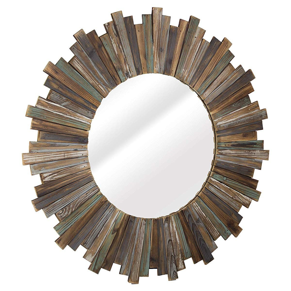 """Distressed Wood 36"""" Round Sunburst Wall Vanity Accent Mirror Within Perillo Burst Wood Accent Mirrors (Image 7 of 20)"""