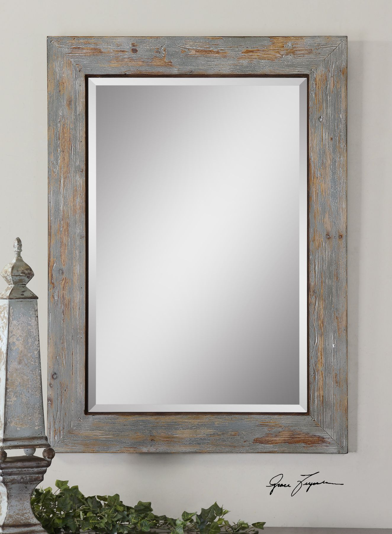 Distressed Wood Mirror | Our House – Powder Room With Regard To Abdul Accent Mirrors (View 10 of 20)