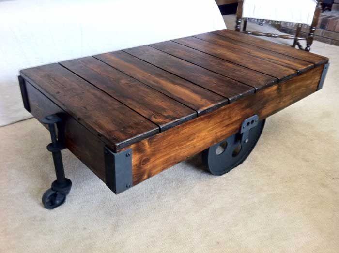 Diy Factory Cart Coffee Table | Furniture | Pinterest Pertaining To Furniture Of America Charlotte Weathered Oak Glass Top Coffee Tables (View 26 of 50)