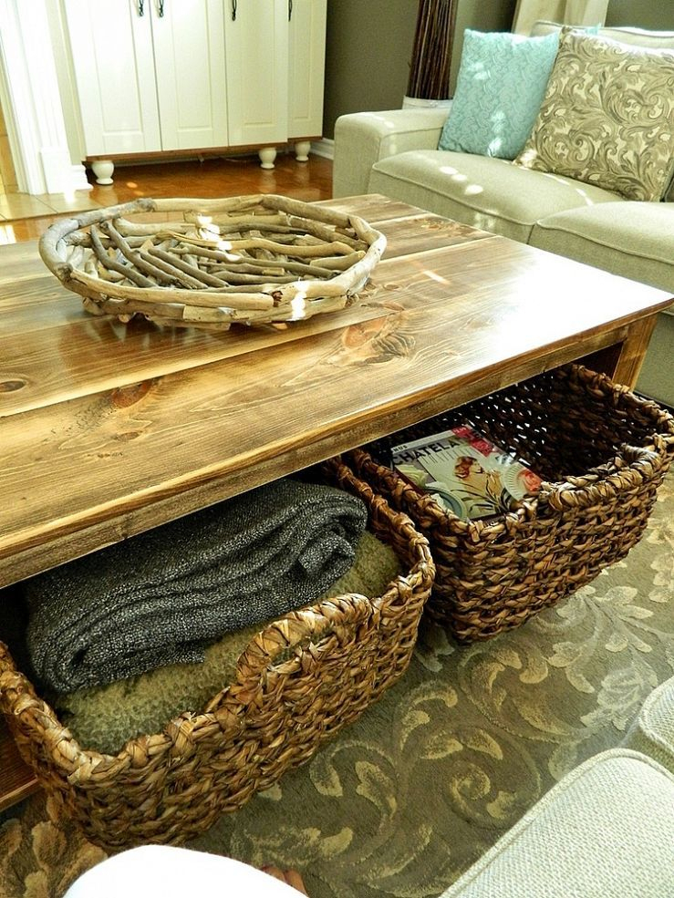 Diy Rustic Coffee Table With Storage In About 3 Or 4 Days Throughout Rustic Coffee Tables With Wicker Storage Baskets (Image 5 of 25)