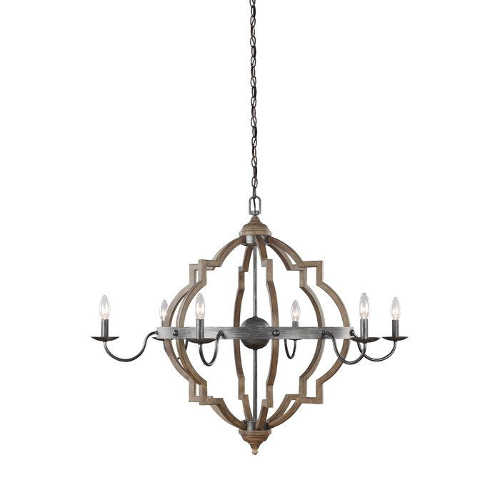 Donna 6 Light Candle Style Chandelier Inside Watford 6 Light Candle Style Chandeliers (Image 3 of 20)