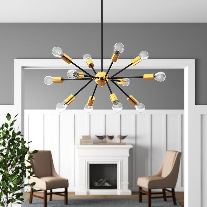 Dorcia 12 Light Sputnik Chandelier In Asher 12 Light Sputnik Chandeliers (View 16 of 20)