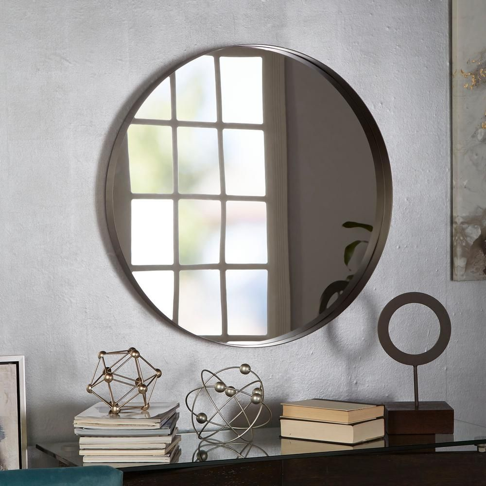 Eagan Round Gunmetal Wall Mirror In 2019 | Products Pertaining To Traditional Metal Wall Mirrors (Image 5 of 20)