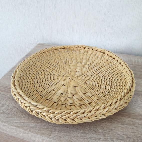 Easter Table Decor Rustic Serving Tray Coffee Table Tray Large Round Wicker  Woven Tray Basket Inside Rustic Coffee Tables With Wicker Storage Baskets (Image 6 of 25)