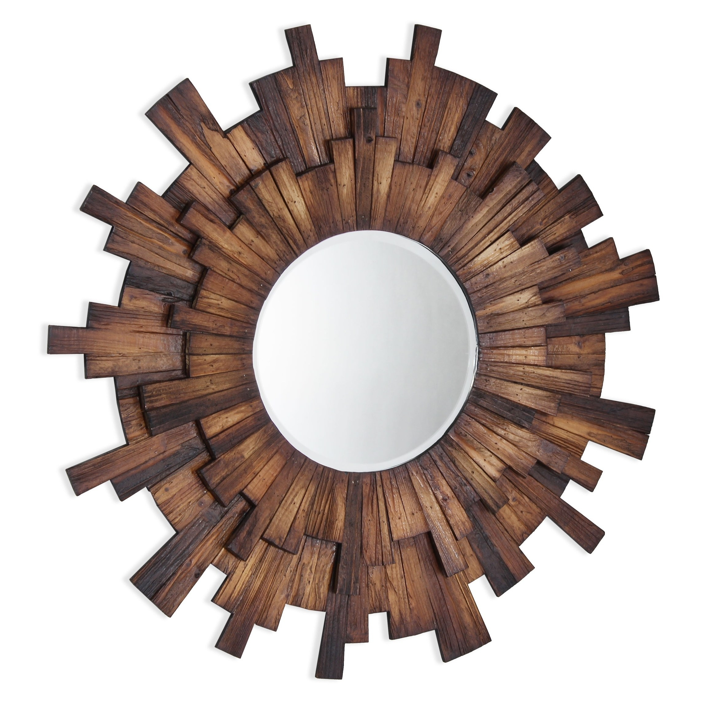 Eden Wood Framed Mirror – Brown/antique Brown – N/a/a, Gild For Perillo Burst Wood Accent Mirrors (Image 8 of 20)