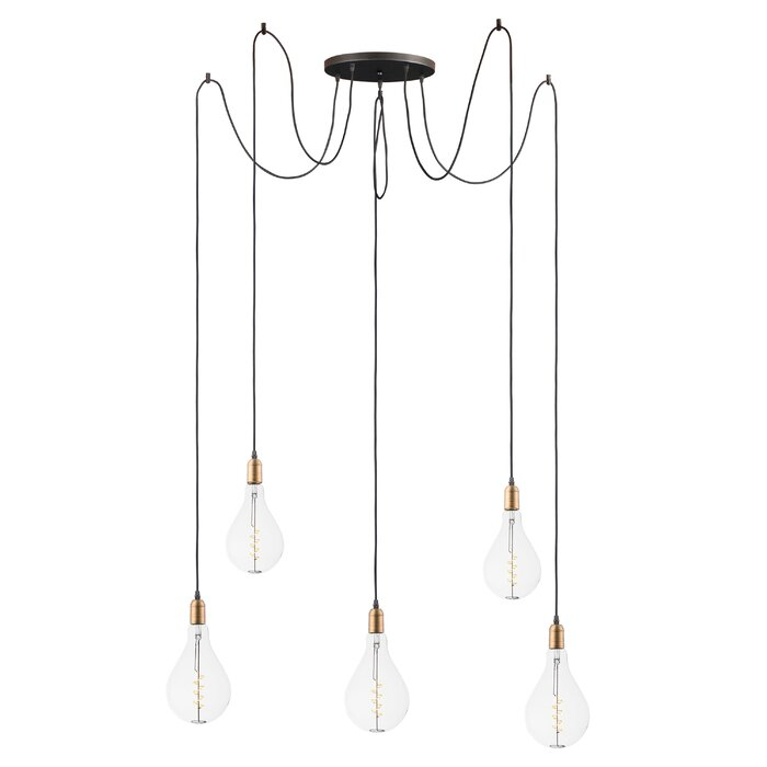 Edgardo 5 Light Cluster Bulb Pendant Regarding Gattilier 3 Light Cluster Pendants (View 5 of 25)