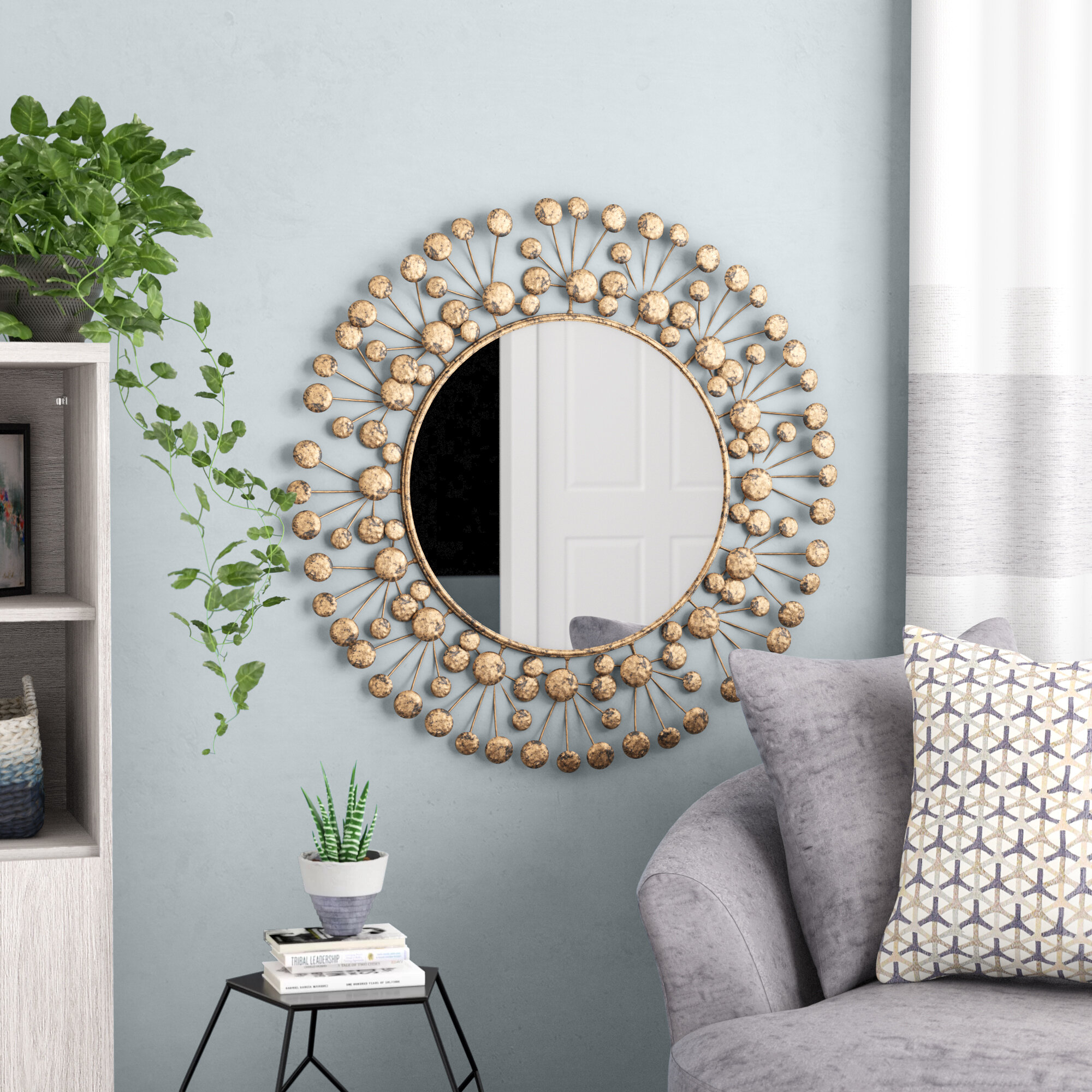 Eisenbarth Oversized Decorative Round Wall Mirror In Kentwood Round Wall Mirrors (View 5 of 20)