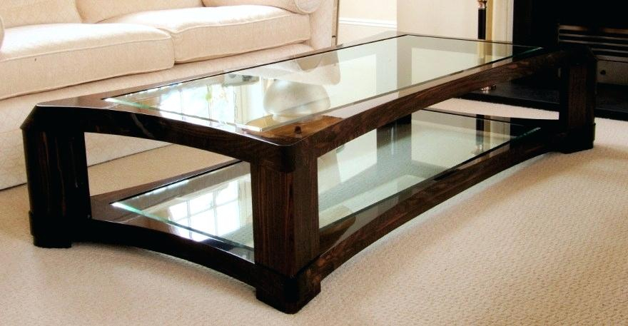 Elegant Glass Top Coffee Table – Opticaspluss For Cohler Traditional Brown Cherry Oval Coffee Tables (View 25 of 25)