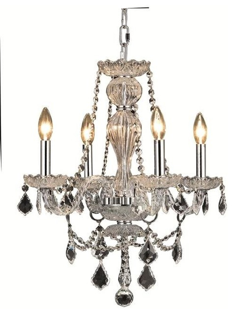 Elegant Lighting Giselle Chrome Transitional Dining Room With 4 Light 60W With Regard To Gisselle 4 Light Drum Chandeliers (View 10 of 20)