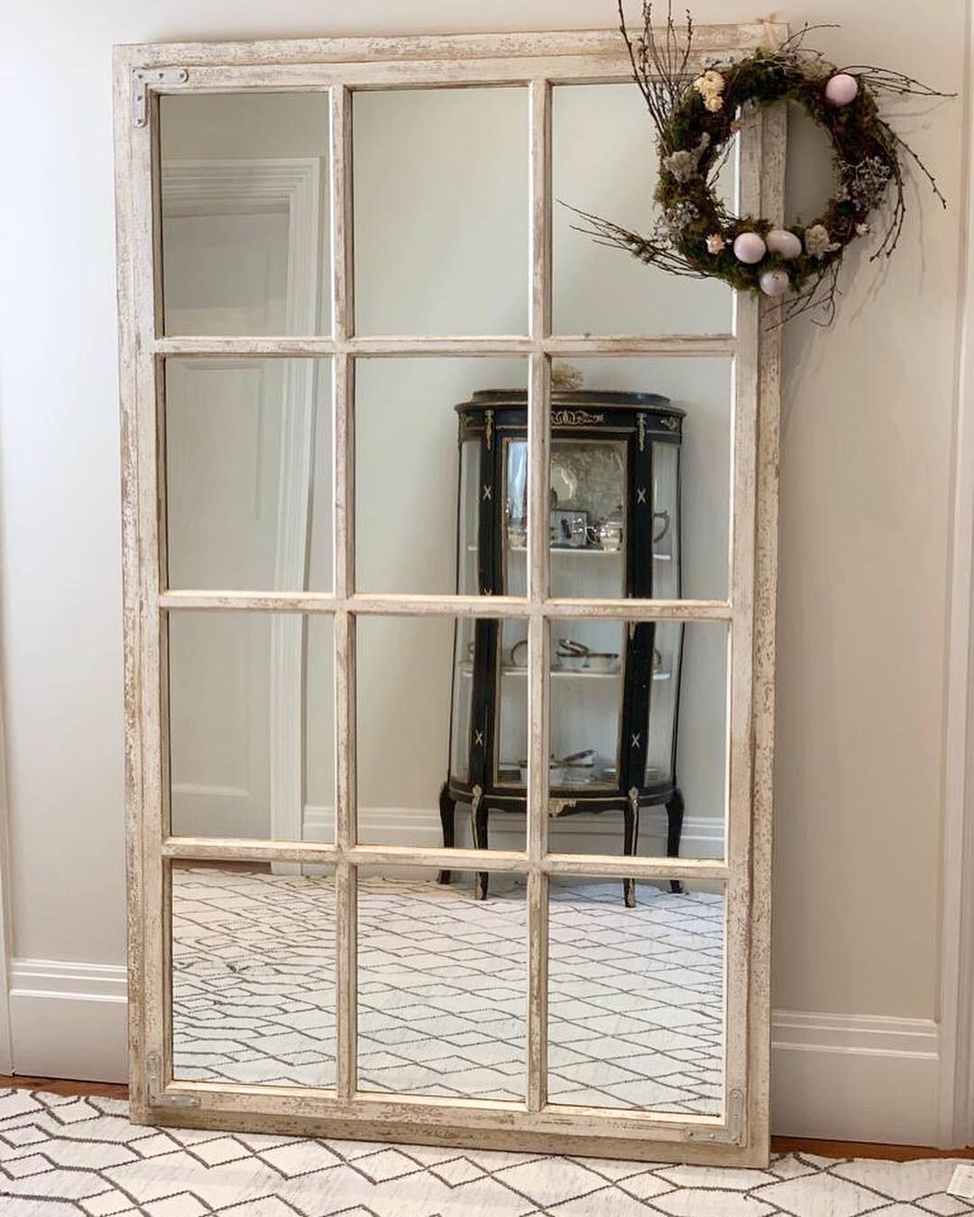 Ella Window Mirror – Cream Distressed In Window Cream Wood Wall Mirrors (Image 10 of 20)