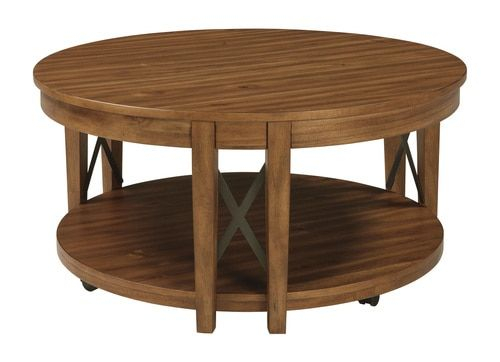 Emilander Light Brown Round Cocktail Table (T433 8 For Winslet Cherry Finish Wood Oval Coffee Tables With Casters (View 8 of 25)