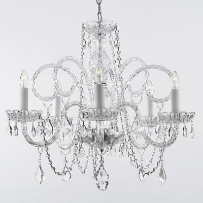 Empress Crystal 5 Light Chandelier T40 115 – The Home Depot For Verdell 5 Light Crystal Chandeliers (Image 10 of 20)