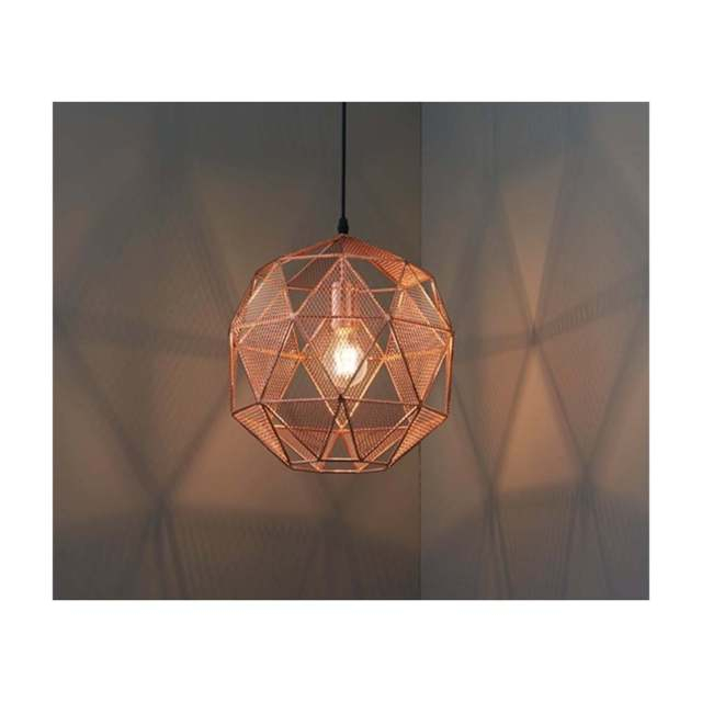 Endon Lighting Armour 1 Light Globe Pendant Copper 135Cm Within 1 Light Geometric Globe Pendants (Image 13 of 25)