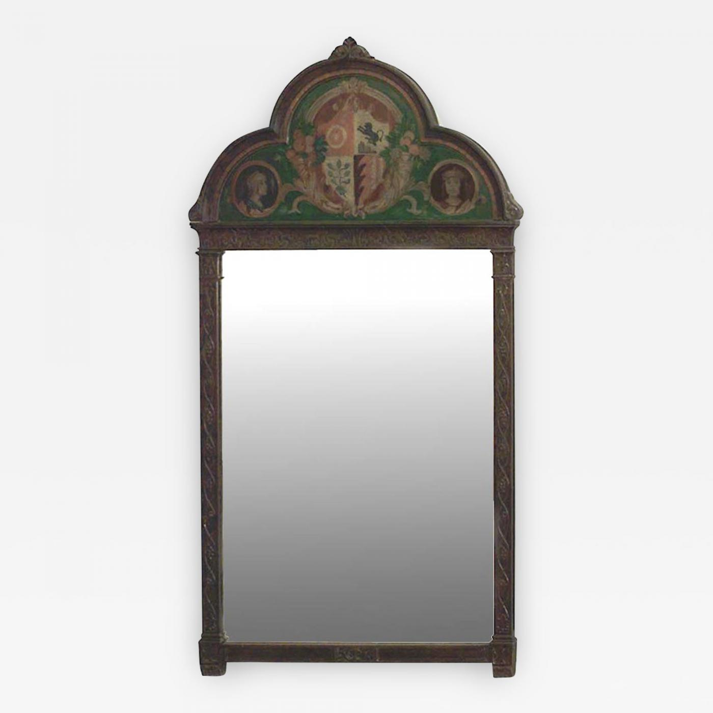 English Victorian Gothic Style Oak Vertical Wall Mirror Inside Arch Vertical Wall Mirrors (Image 11 of 20)