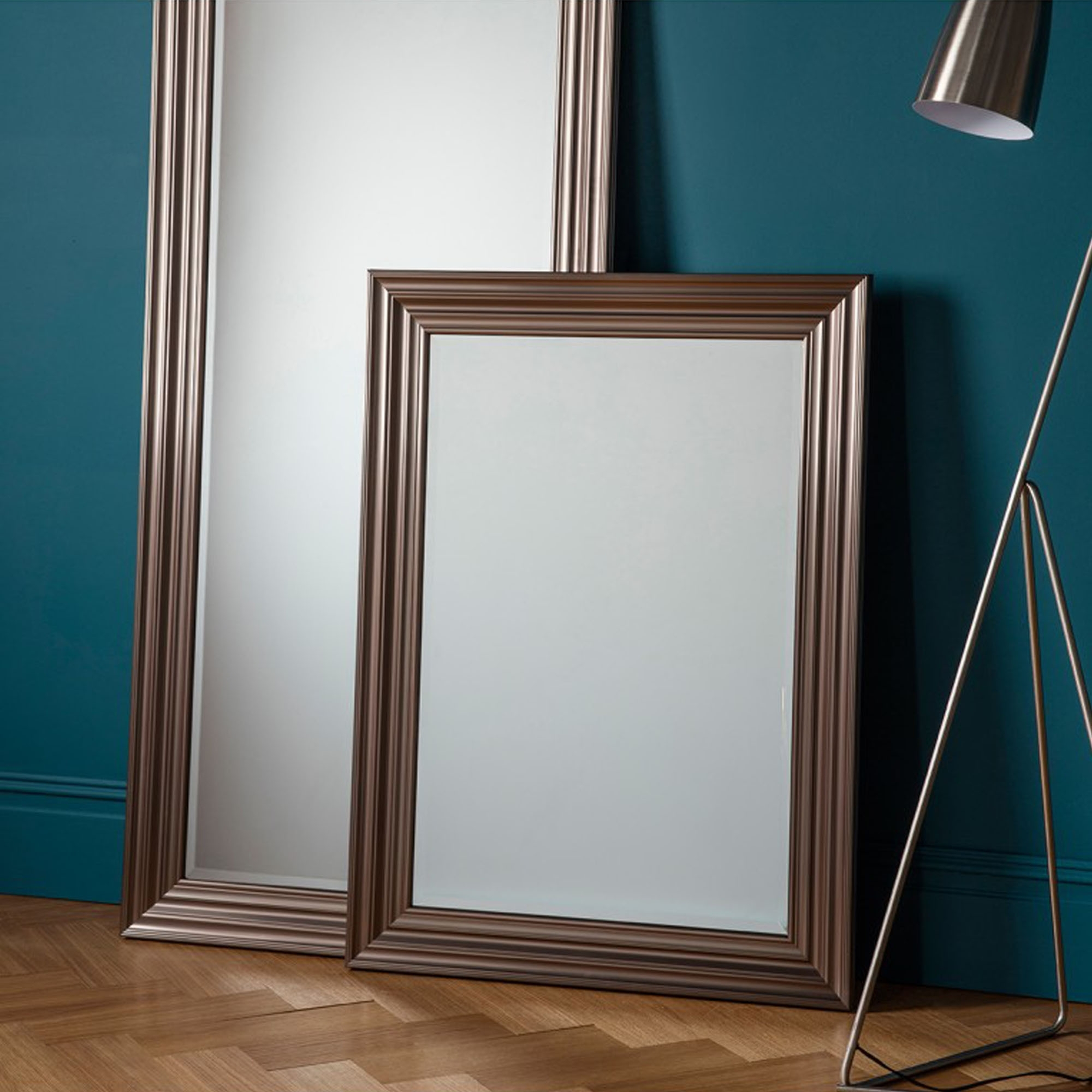 Erskine Rectangle Pewter Wall Mirror Pertaining To Rectangle Pewter Beveled Wall Mirrors (Image 10 of 20)