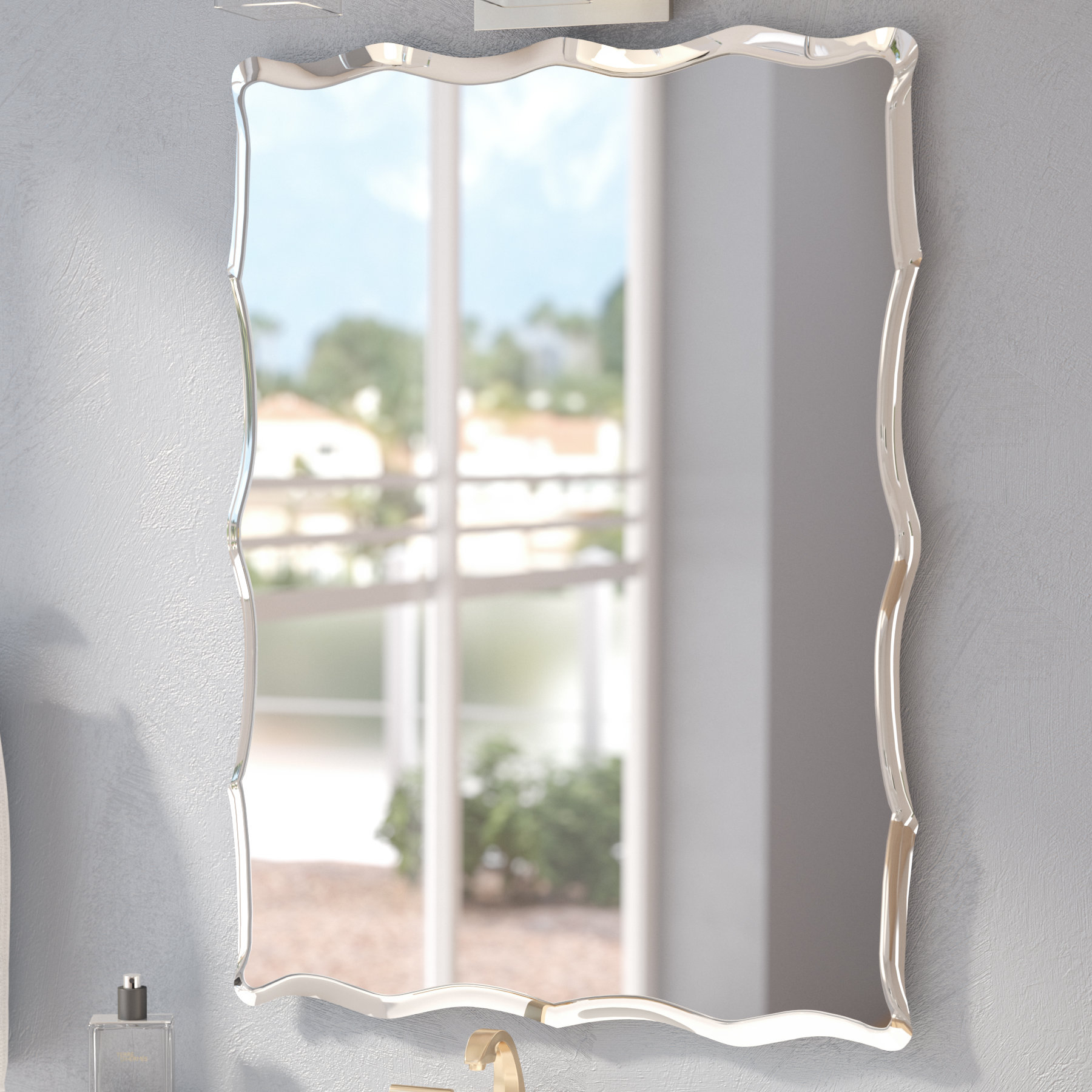 Estefania Frameless Wall Mirror Inside Logan Frameless Wall Mirrors (Image 4 of 20)