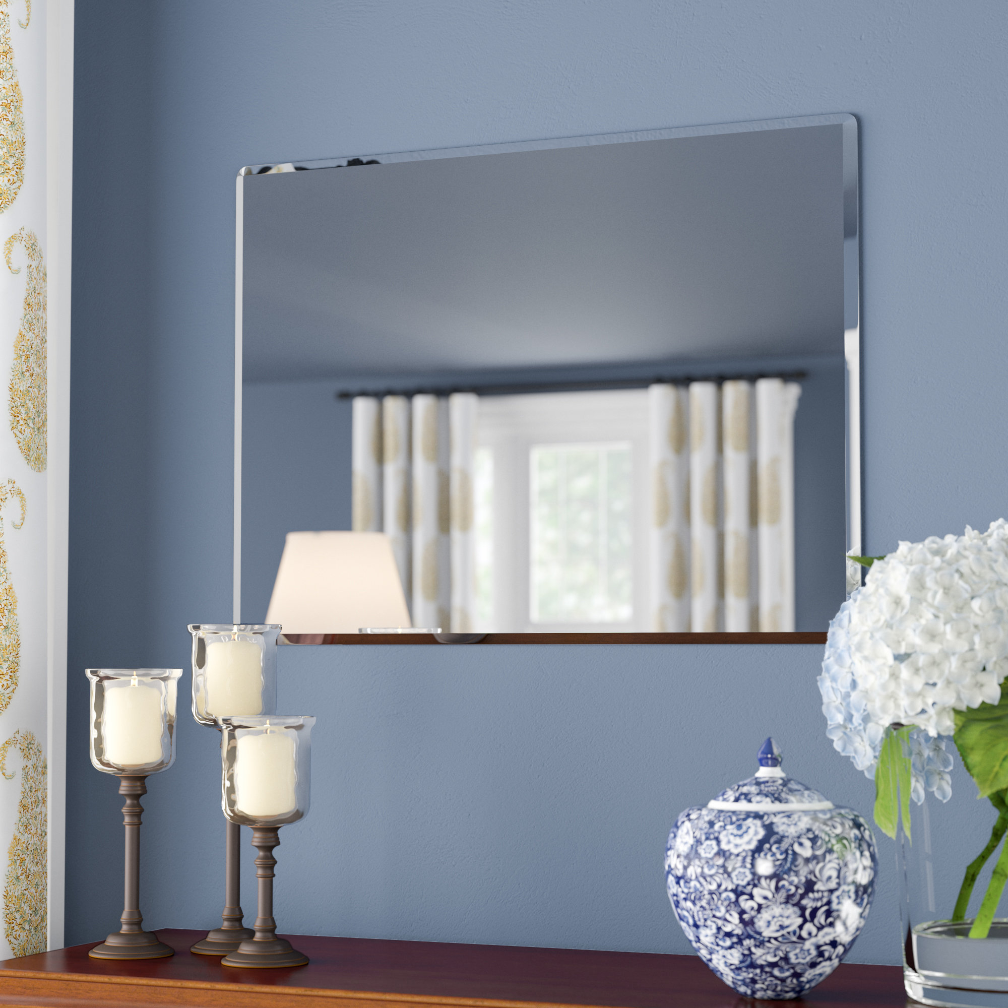 Etched Frameless Wall Mirror | Wayfair For Wallingford Large Frameless Wall Mirrors (View 12 of 20)