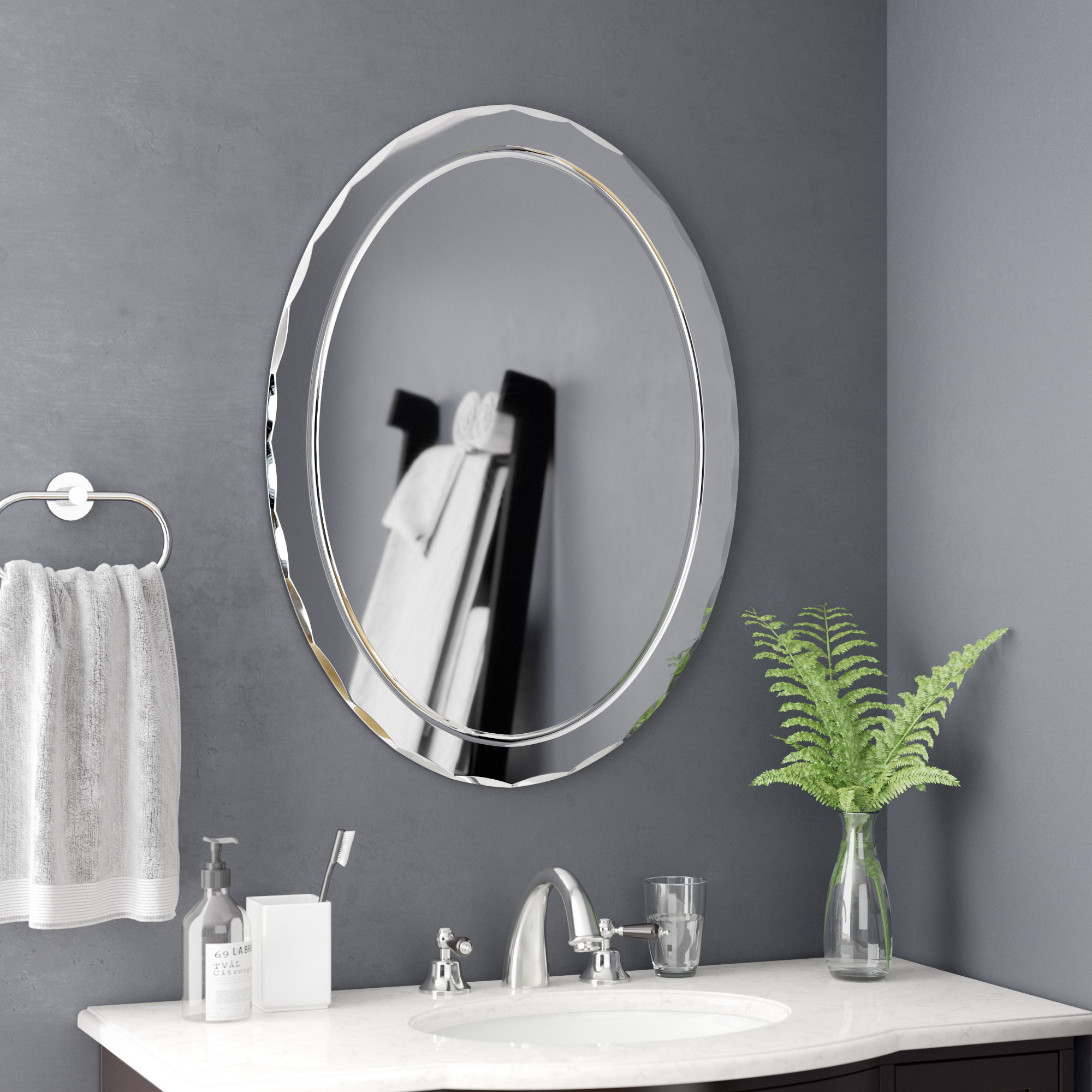 Etched Frameless Wall Mirror | Wayfair Intended For Wallingford Large Frameless Wall Mirrors (View 7 of 20)