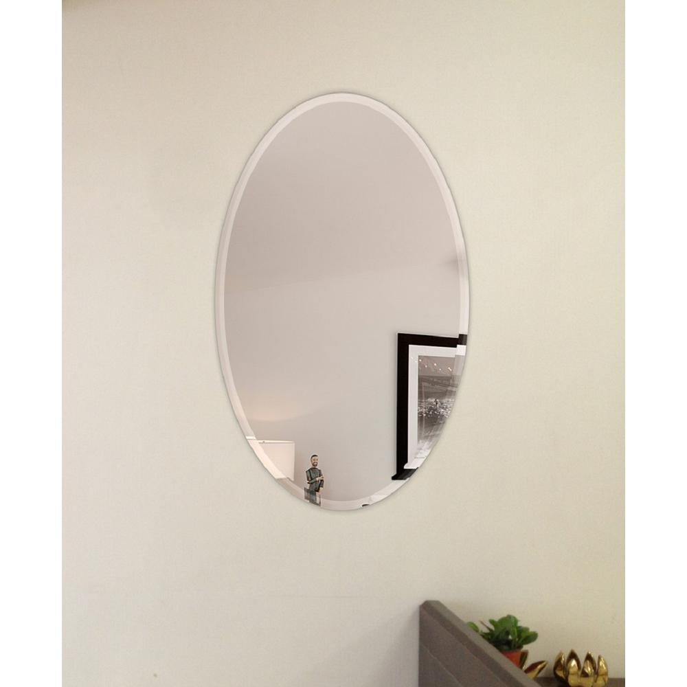 Fab Glass And Mirror 22 In. X 30 In. Oval Beveled Polish Within Yedinak Modern Distressed Accent Mirrors (Photo 14 of 20)