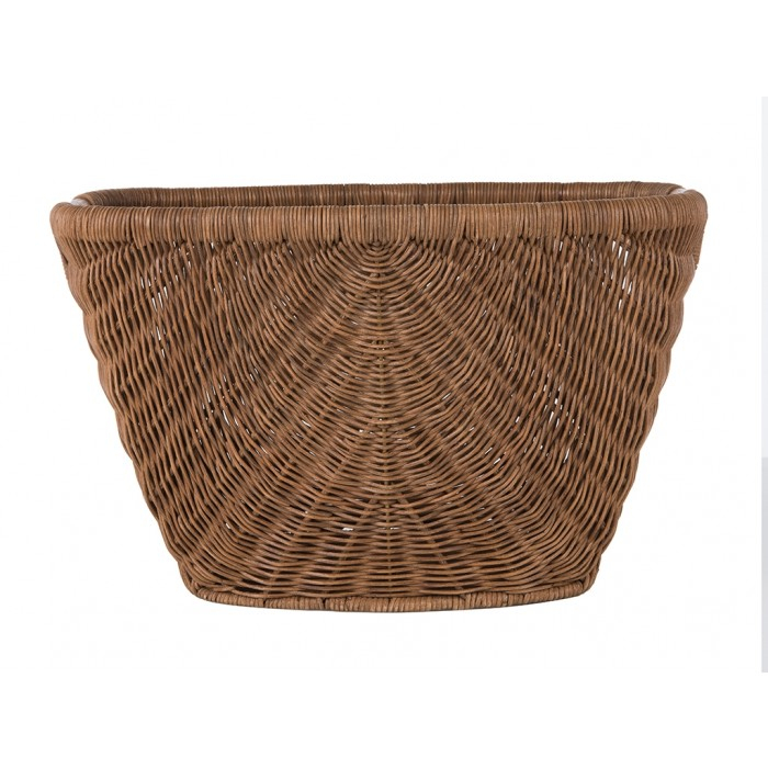 Fan Decorative Wicker Storage Basket With Rattan Pole Handle In Rustic Coffee Tables With Wicker Storage Baskets (Image 7 of 25)