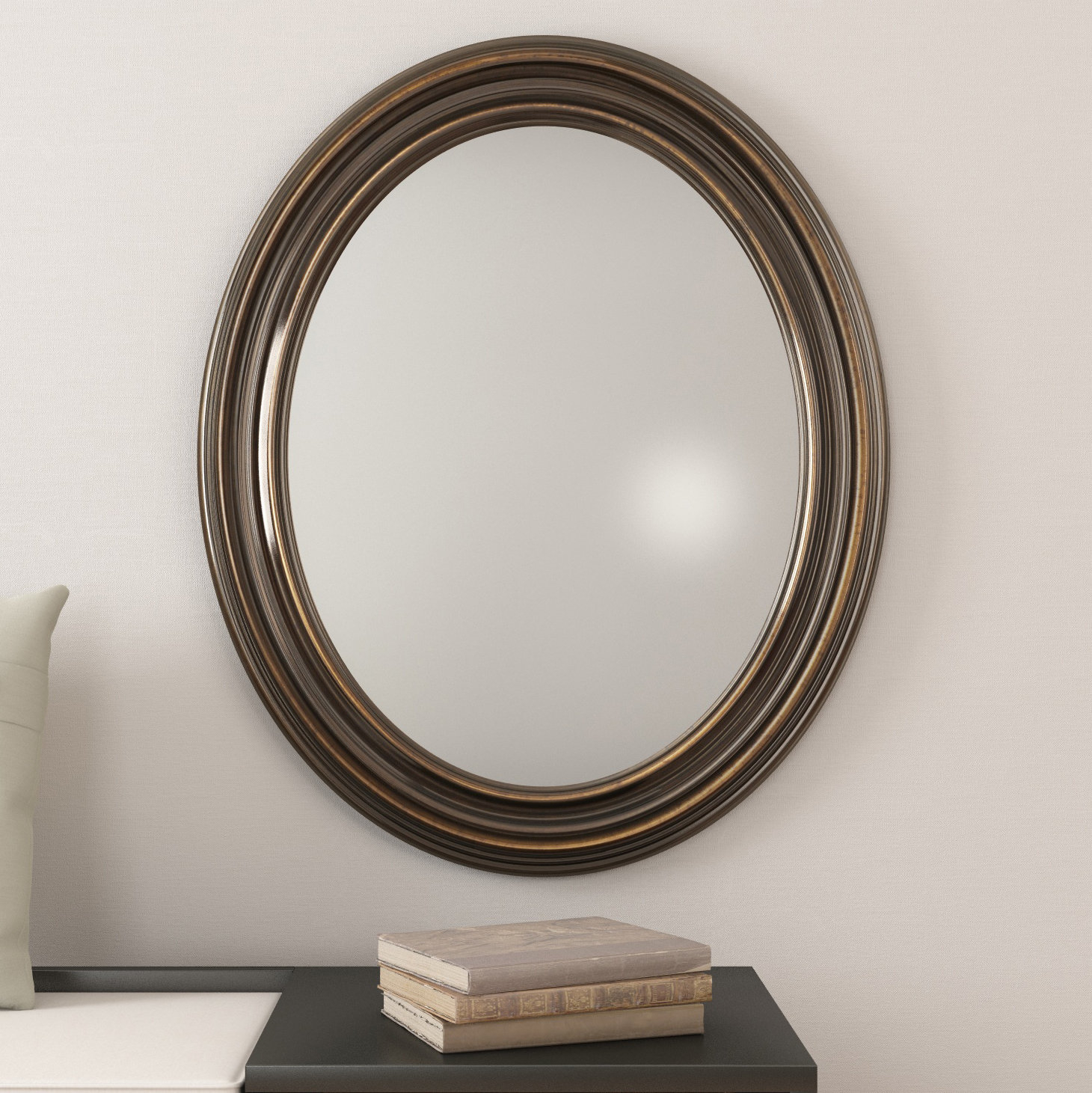 Farmhouse & Rustic Darby Home Co Wall & Accent Mirrors Inside Glen View Beaded Oval Traditional Accent Mirrors (View 10 of 20)