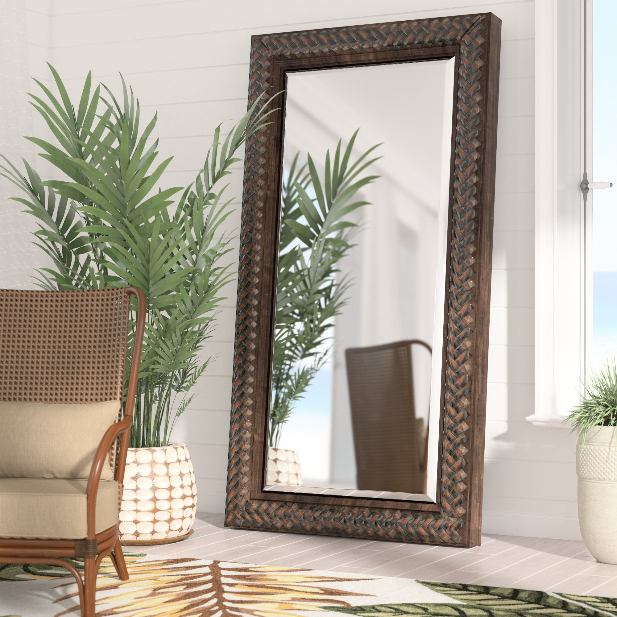 Farmhouse & Rustic Floor Mirrors | Birch Lane With Regard To Handcrafted Farmhouse Full Length Mirrors (Image 7 of 20)