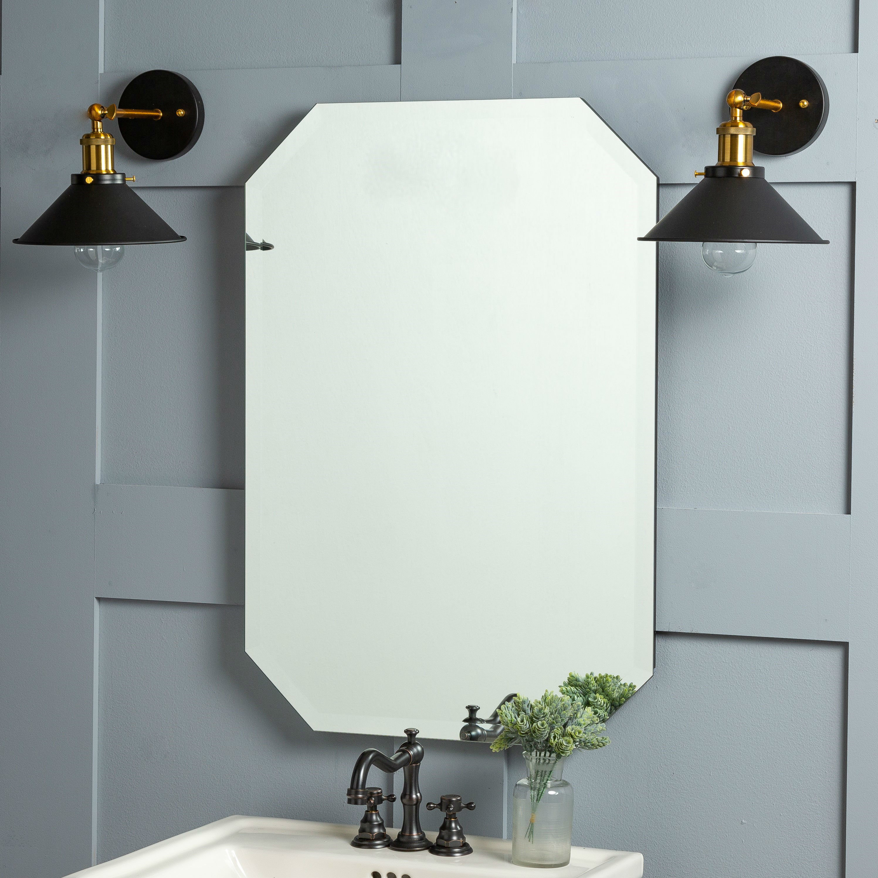Farmhouse & Rustic Frameless Wall & Accent Mirrors | Birch Lane Pertaining To Thornbury Oval Bevel Frameless Wall Mirrors (Image 6 of 20)