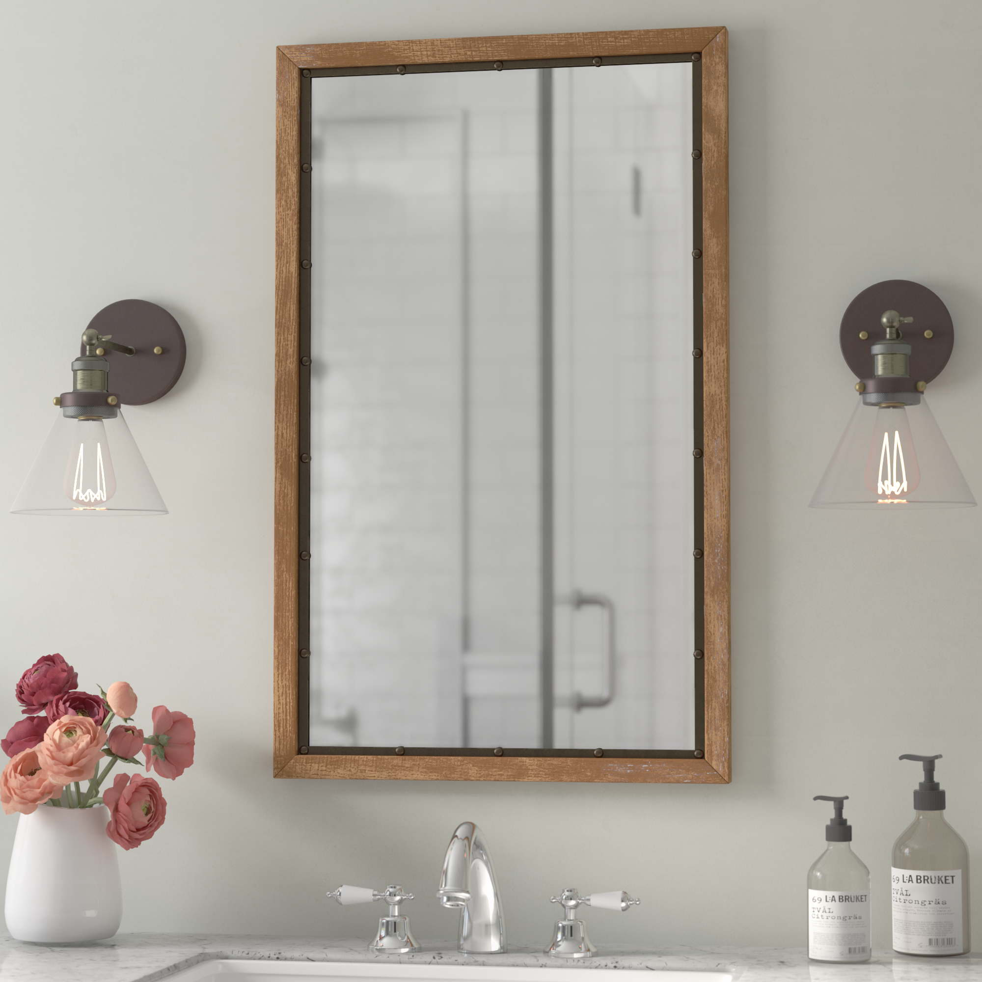 Farmhouse & Rustic Mirrors | Birch Lane Regarding Wood Accent Mirrors (View 16 of 20)