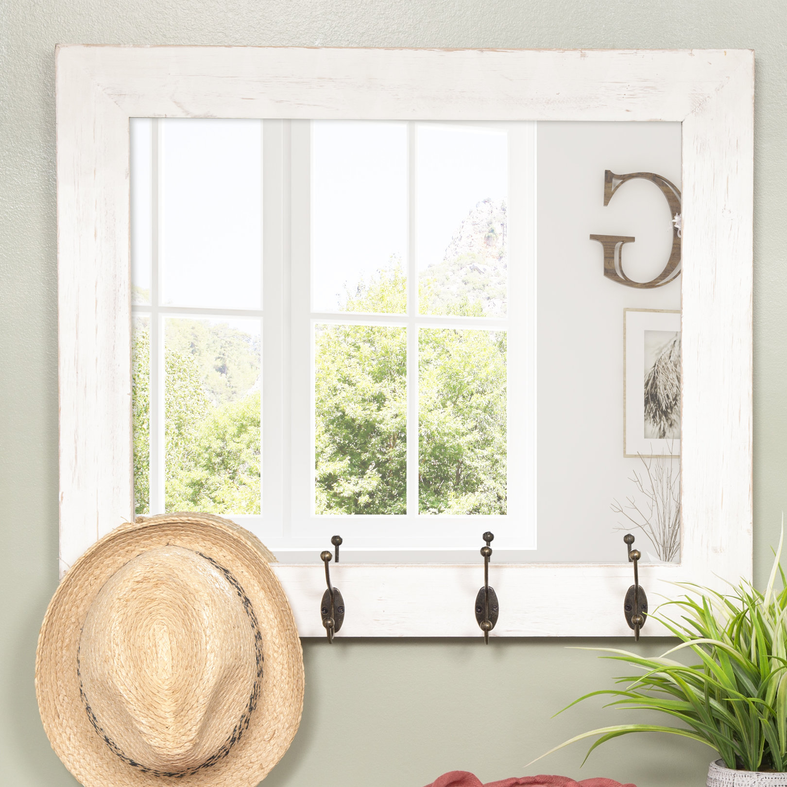 Farmhouse & Rustic Shelves / Drawers Wall & Accent Mirrors Throughout Hallas Wall Organizer Mirrors (Image 6 of 20)