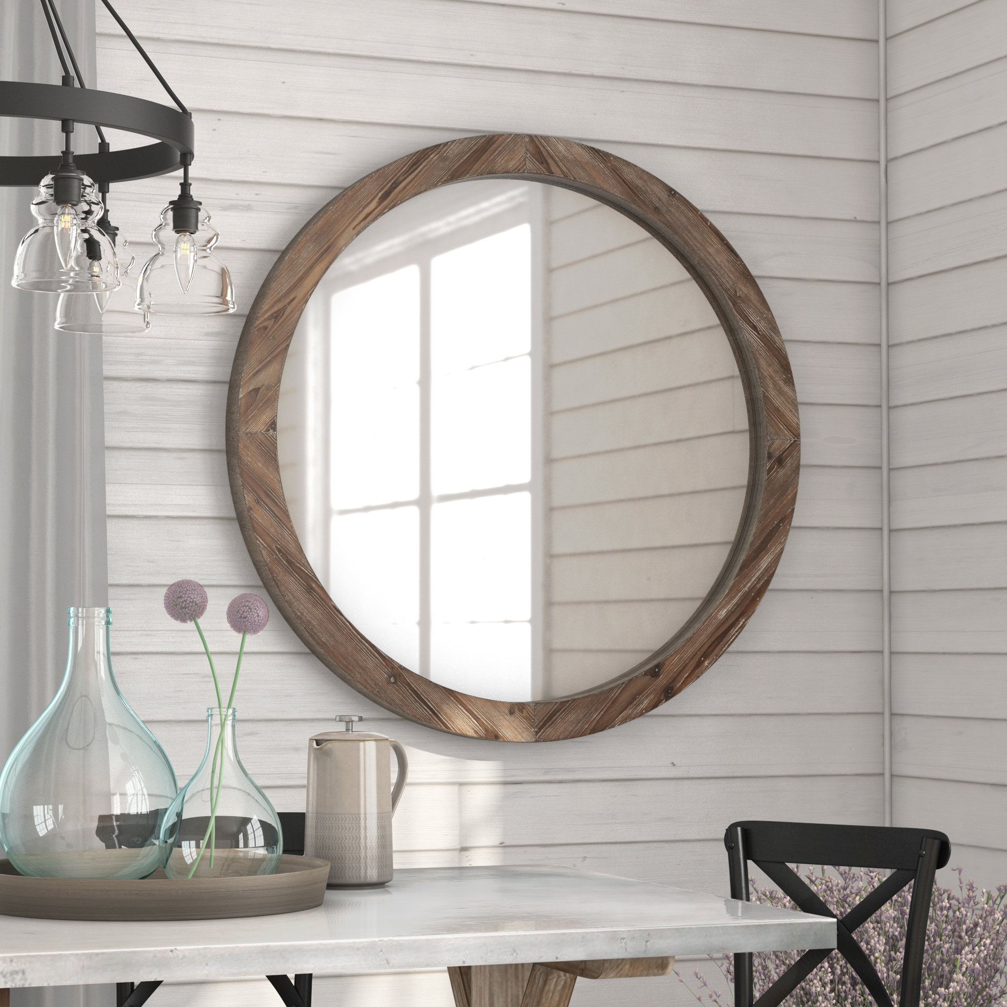 Farmhouse & Rustic Union Rustic Wall & Accent Mirrors For Perillo Burst Wood Accent Mirrors (Image 9 of 20)