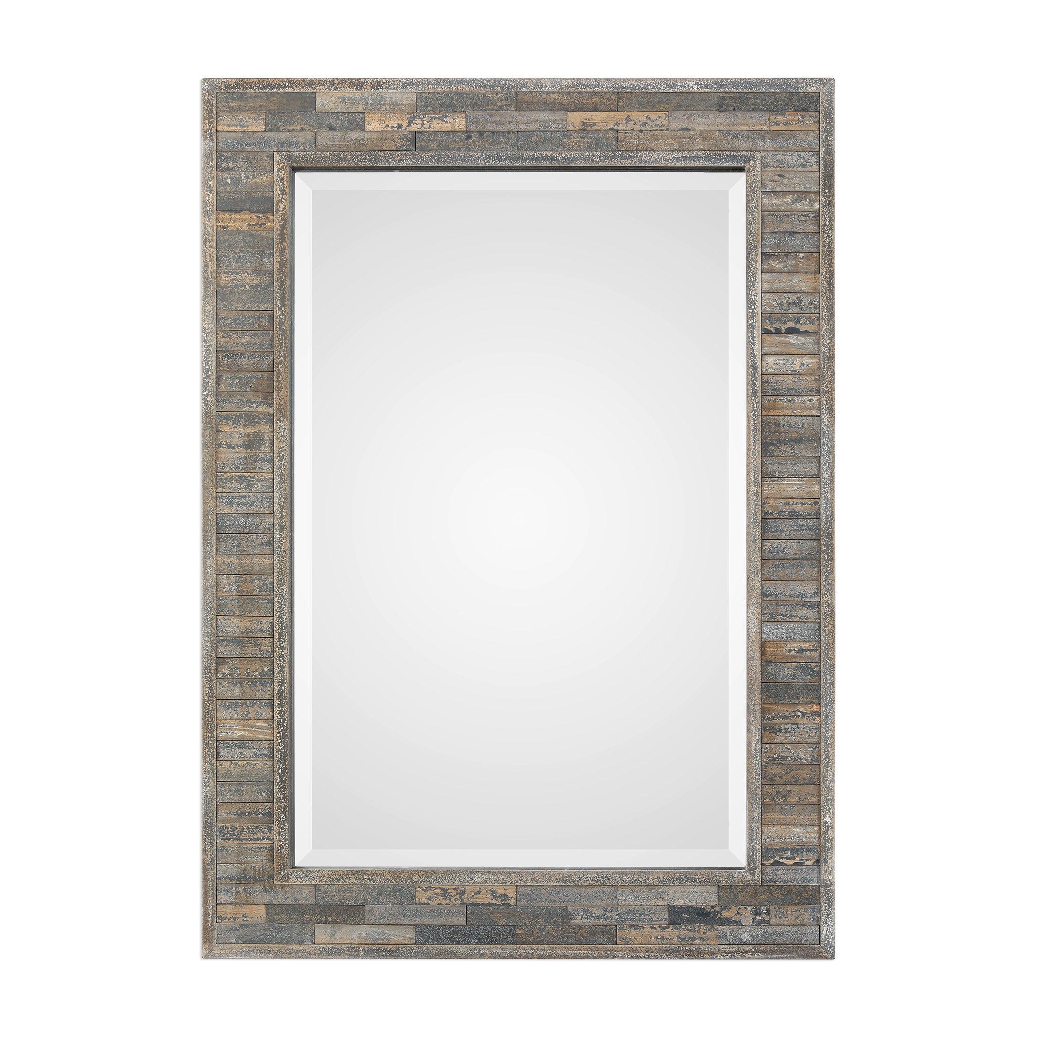 Farmhouse & Rustic Union Rustic Wall & Accent Mirrors In Perillo Burst Wood Accent Mirrors (Image 10 of 20)