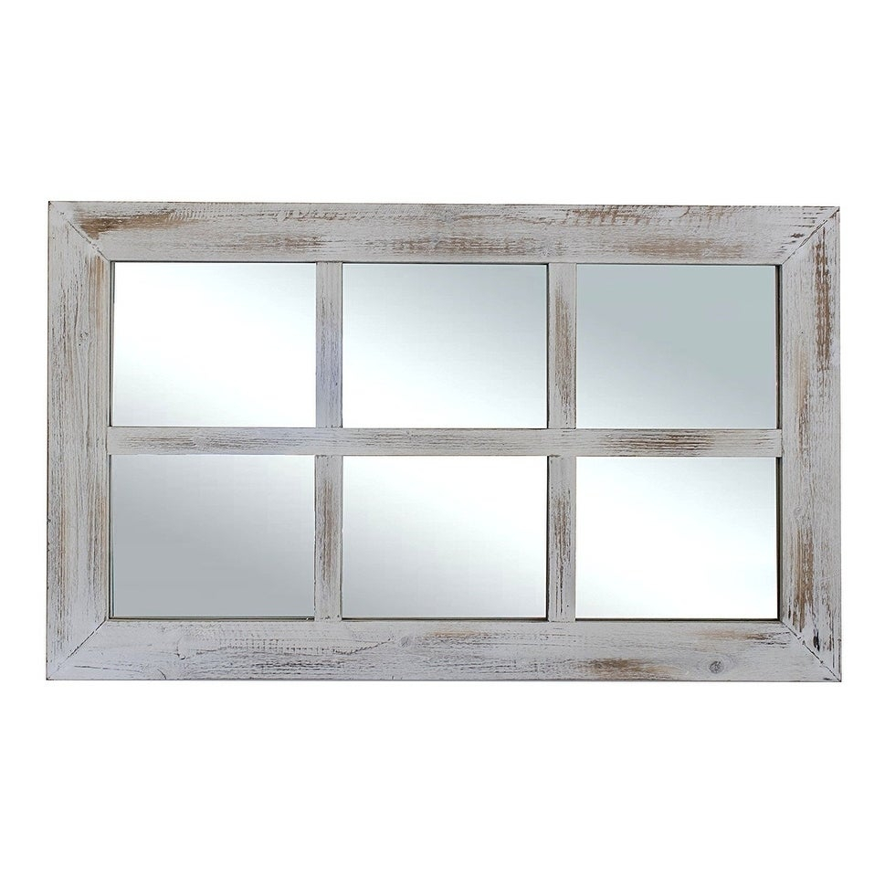 Farmhouse Rustic White Windowpane Mirror – Antique White – A/n Throughout Wood Accent Mirrors (View 11 of 20)