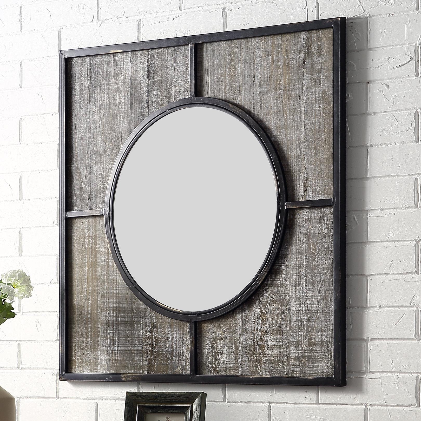 Farmhouse Woodgrain Mirror | Wayfair Pertaining To Farmhouse Woodgrain And Leaf Accent Wall Mirrors (View 11 of 20)
