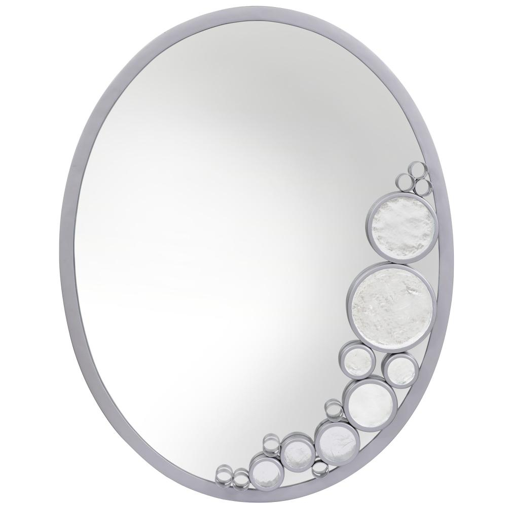 Fascination Oval Powder Room Accent Mirror – Metallic Silver For Oval Metallic Accent Mirrors (Image 6 of 20)