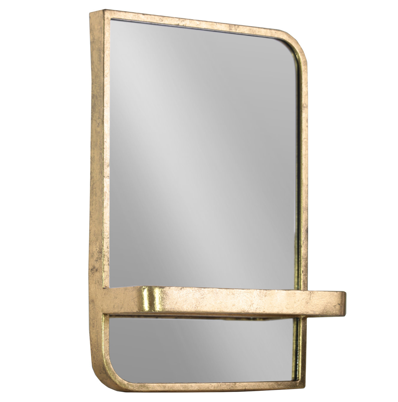 Fausto Rectangle Metal Wall Mirror With Shelf Throughout Bem Decorative Wall Mirrors (View 13 of 20)