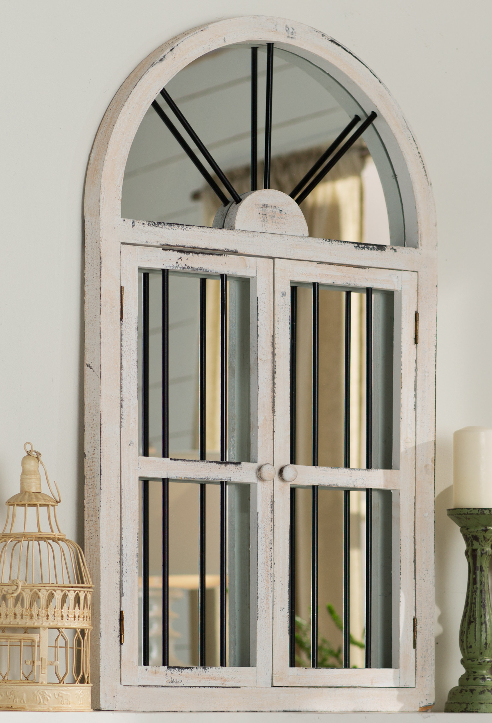 Featured Image of Faux Window Wood Wall Mirrors