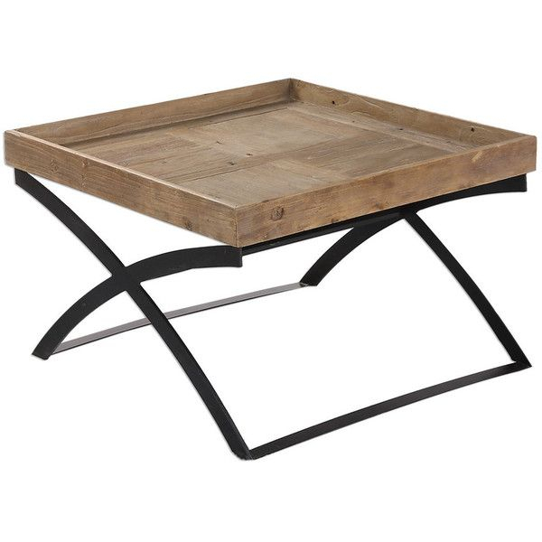 Ferox Elm Tray Coffee Table ($724) ❤ Liked On Polyvore With Porch & Den Urqhuart Wood Glass Coffee Tables (Image 17 of 50)